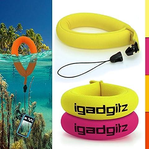 iGadgitz 2 Pack Neon Yellow & Pink Waterproof Floating Wrist Strap suitable for Underwater/Waterproof: Cameras, Video cameras, cases & housing, Marine binoculars + Waterproof Sony