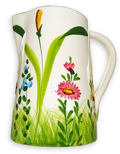 Lashuma handgemachter Italienischer Keramik Krug groß, Kanne mit Blumenwiesen Muster, Pitcher mit Henkel Höhe ca. 19 cm, Füllmenge ca. 1,5 l - Große Keramik Tee-kanne