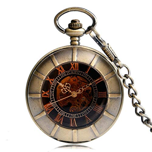 hr_Black Bronze Mechanische Taschenuhr Man Pocket Watch Dunkelbrauner Anhänger Nurse Retro ()