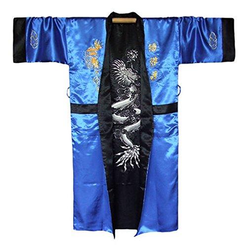 Japanischer Wende-Kimono Satin Morgenmantel für Damen & Herren mit Drachen-Stickerei Blau