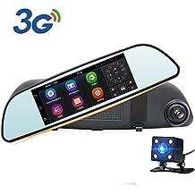 """Espejo Retrovisor para Coche - Junsun 6.86"""" GPS Navegador de la Rociada Cam Android 5.0 HD 1080P de 160° Doble Lente de la Cámara Coche con 3G y Cámaras de visión trasera"""