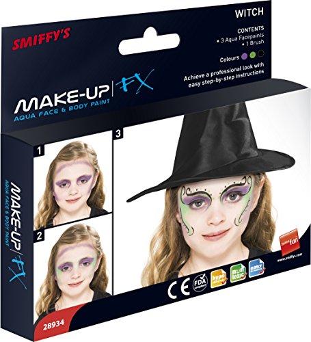 SMIFFY 'S Make-up FX Aqua Hexe Kit in drei Farben mit Applikator Pinsel (Hexe Kostüme Make Up)