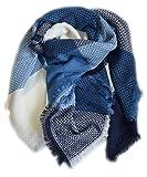 XXL-Damen-Tuch-Schal-Karomuster-Winterschal-Deckenschal 166 (Blau-Weiß)