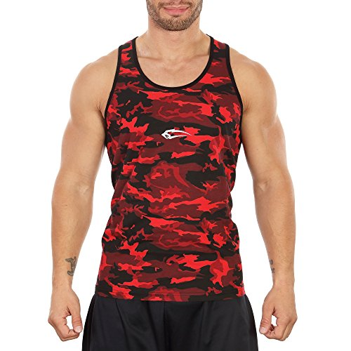 SMILODOX Camouflage Tank Top Herren | Muskelshirt ideal für Sport Gym Fitness & Bodybuilding | Muscle Shirt - Stringer - Tanktop - Unterhemd - Achselshirt, Größe:L, Farbe:Rot Camo (Herren Camouflage Tank Top)