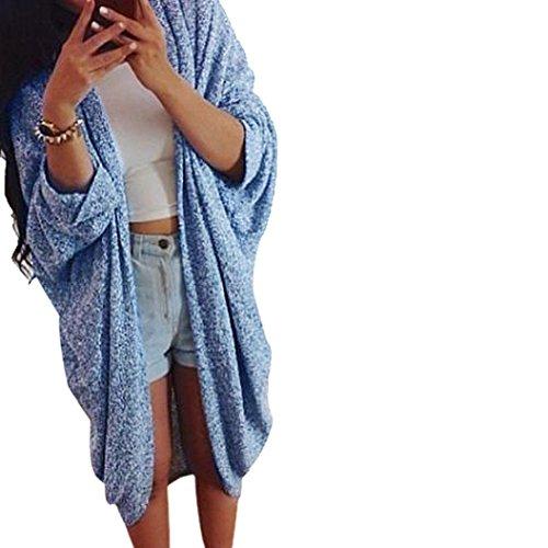 Xmansky Frau Beiläufig Stricken Hülse Sweatshirt Mantel Strickjacke Jacke (XL=EU 38, Blau) (Pastell-tie Dye)