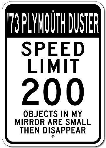 Lustiges Blechschild 1973 73 Plymouth Duster Speed Limit 200 Street Sign Aluminium Wanddeko Blechschild -