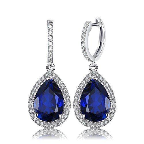 JewelryPalace Lusso Taglio 12.4ct Pera Sintetico Blu Zaffiro Orecchini a Perno Solido Argento Sterling 925