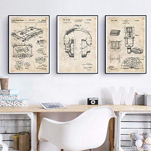 Patentes de grabación de música Carteles e impresiones de planos vintage Sala de música Arte de la pared Pintura Decoración Imágenes de pared Bar Cartel retro 35 * 50 cm * 3 piezas