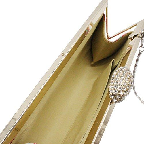 Sasairy Donna Pochette da Materiale Flash Piuma Modello con Catena Borsetta da Sera Elegante Borsa Banchetti Borsa da Sposa per Nozze Partito Vita Quotidiana Oro