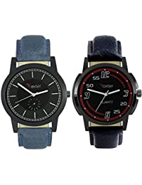 Talgo 2017 New Collection Foxter (combo Of 2) Black Round Shapped Dial Leather Strap Fashion Wrist Watch For Boys... - B0763V2QD4