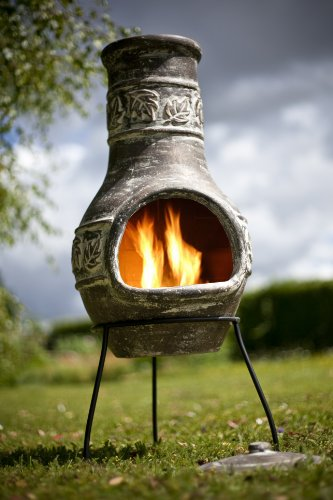 Chiminea Patio Heater In Bronze Colour With Maple Leaf