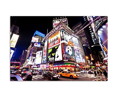 120x80 cm - Times Square in New York City in der Nacht an der Kreuzung Broadway und Seventh Avenue - Bild auf Keilrahmen modern stilvoll - Bilder und Dekoration