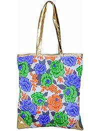 Ratash Tote Bag Flower Print (Skyblue Back) (Hbd_22_23_24_12)