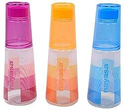 Nayasa Superplast Plastic Water Bottle Set, 1 Litre, Set of 3, Multicolour
