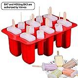 Volwco Ice Lolly Moldes de silicona para paletas de helado, juego de moldes de helado, aprobado por la FDA, herramienta de cocina con palitos de paleta de madera y tapas a prueba de fugas, 12 unidades