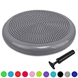 Trideer Air Stability Wobble Cushion with Free Pump, 34cm Extra Thick Core Balance Disc, KIDS Wiggle Seat, Great for Improving Core Strength & Relieving Back Pain (34cm Silver)