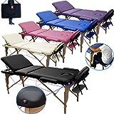 Beltom Table de Massage 3 Zones Classique Portables 180 x 56 cm. - ne pèse Que 13,3 kg. et avec Accessoires 14,5 kg. - Cosmetique lit esthetique Pliante Reiki + Sac - Noir