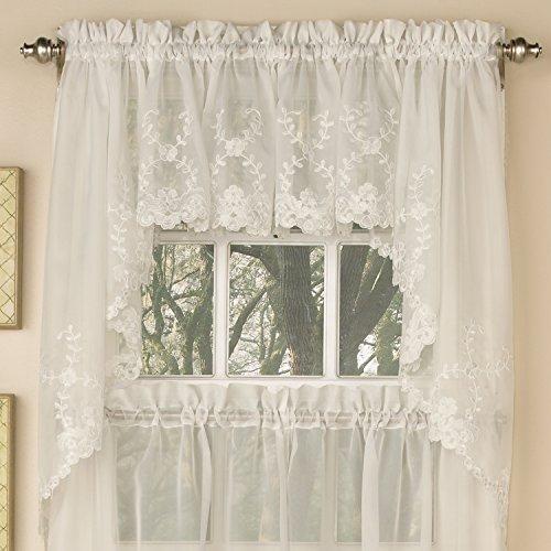 Sweet Home Collection Fenstervorhang, 160 cm oder 213,4 cm lang, in stilvollen und einzigartigen Mustern und Designs für alle Wohnaccessoires, Blau Swag Embroidered Ivory Ivory Floral Swag