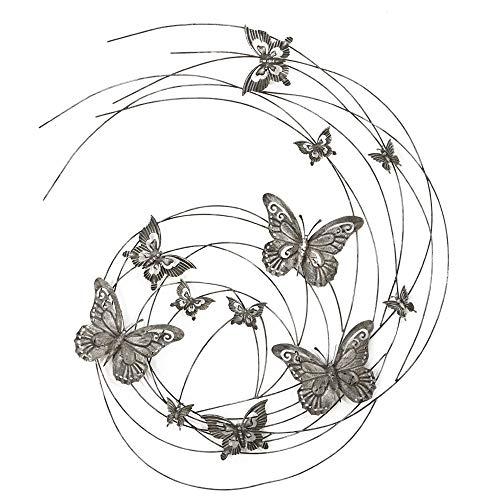 Boltze Wand Objekt Eisen Bild Schmetterling Muster Dekoration Behang geschwungen Silber 4463800 -