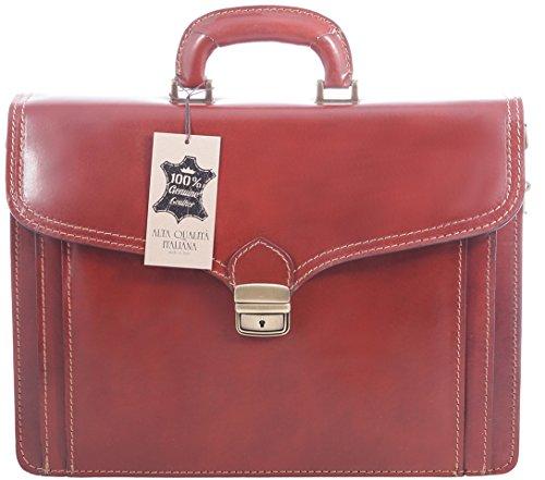 Veranstalter Mann Tasche von Italian Job, 100% echtes Leder Made in Italy Braun