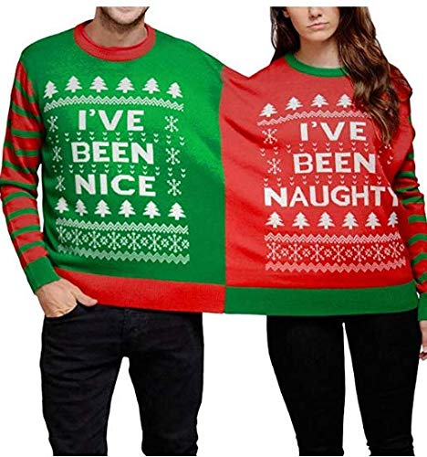 Couples Christmas Jumper Costume. I've Been Naughty, I've Been Nice. S to XL