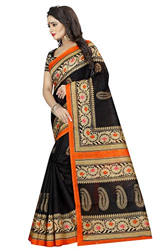 Indian Women's Art Silk Kalamkari and Bhagalpuri Style Sari with Blouse Piece SAMPURNA Black