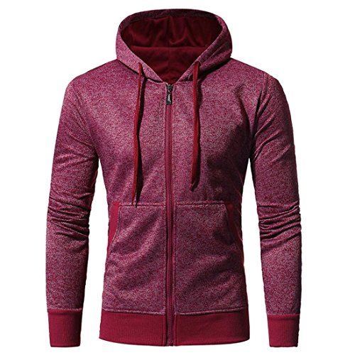 Preisvergleich Produktbild Herren Hoodie Mantel Btruely Winter Mode Männer Kapuzenpullover Langarm Mit Kapuze Mantel Männer Hooded Sweatshirt Retro Zipper Outwear (XXXL,  Weinrot)