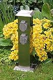 Steckdosensäule Edelstahl Energieverteiler Energiesäule 4-fach IP54 mit 2 Schaltern eckig
