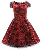 H&R London Kleid FLOCKING LONG DRESS 135 Rot UK10 S