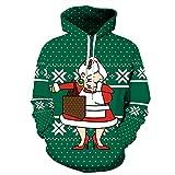 Unsiex Hoodies Neuheit Weihnachten Kostüm Pullover Sweatshirts Quirky Liebhaber Langarm T-Shirt Männer & Frauen Hoody T Casual Jacket (Alte Frau, 2XL/3XL)
