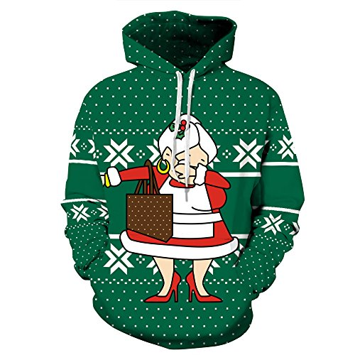 ZYX Hooded Sweater for Christmas, Christmas Costume, 3D Christmas Print Sweater for Christmas Party, Birthday Party and Various Holiday Parties, for Men and Women S-XXXL,L/XL