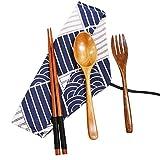 Exzact Posate in Legno 3 Pezzi in Un Sacchetto Stile Orientale con 1 Cucchiaio, 1 x forchetta, 1 x Bacchette, Legno Naturale, stoviglie di Sushi da tavola per Viaggi in Famiglia