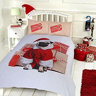 Pieridae Christmas Pug & Stag Duvet Cover & Pillowcase Set Bedding Digital Print Quilt Case Bedding Bedroom Daybed produced by Pieridae - quick delivery from UK.