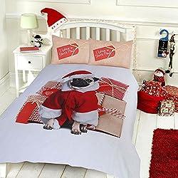 Pieridae Navidad Pug funda de edredón y funda de almohada Set ropa de cama edredón de impresión DIGITAL caso cama dormitorio sofá, Gris, doble