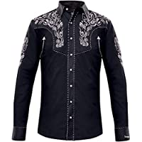 Modestone Men's Embroidered Long Sleeved Camicia Cowboy Filigree
