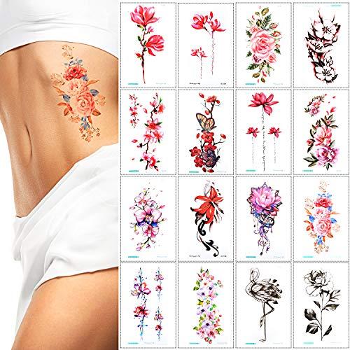 16 pezzi-grandi tatuaggi temporanei fiore - adesivo tatuaggio corpo per braccia gambe spalla o schiena