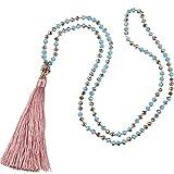 KELITCH Mode Kristall Strand Damen-Halskette Lange Kette mit Buddha Kopf Quaste Anhänger - Rose Rosa