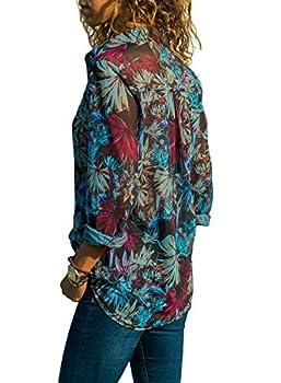 FIYOTE Chemisier Femme T Shirt Manches Longues Blouse Top en Mousseline Chemise Printemps Été Chemisier Chic Femmes Imprimé Floral avec Boutons S-XXL