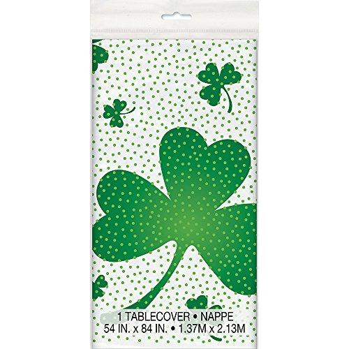 Unique Party Supplies St. Patrick's Day Tischdecke, Kunststoff, irisches Kleeblatt-Motiv, 2,13 x 1,37 m