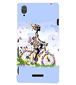printtech Butterfly girl Back Case Cover for Sony Xperia T3