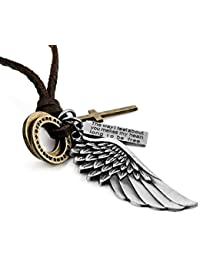 "Sungpunet Naivo Men's Alloy Leather Pendant Necklace Silver Gold Cross Angel Wing Adjustable 16 "" – 26 inch Chain"