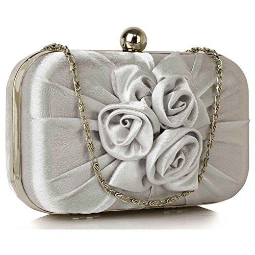 L And S Handbags Satin Pleated Flower Front Clutch Bag, Poschette giorno donna Silver