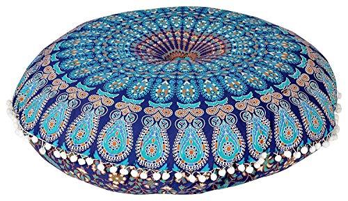 Future Handmade Kissenbezug, rund, indisches Mandala, 81,3cm, 100 % Baumwolle, multi, Design 1 -