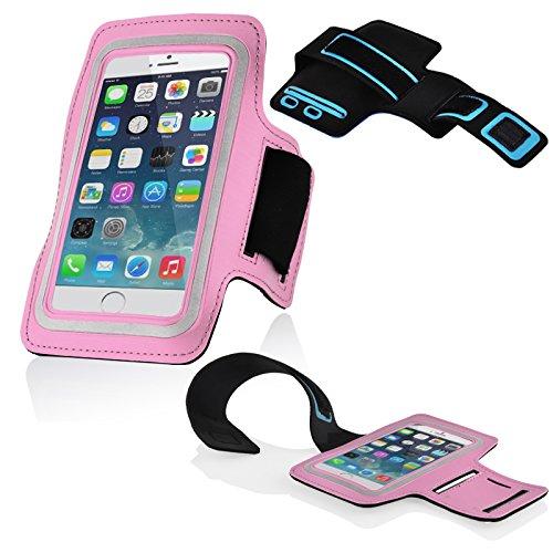 Cadorabo - Neopren Smartphone Sport Armband Fitnessstudio Jogging Armband Oberarmtasche kompatibel mit 4.5 - 5.0 Zoll Handys wie z. B. Apple iPhone 6, 7, Samsung Galaxy A3, > HTC ONE A9 < usw. mit Schlüsselfach und Kopfhöreranschluss in ROSA