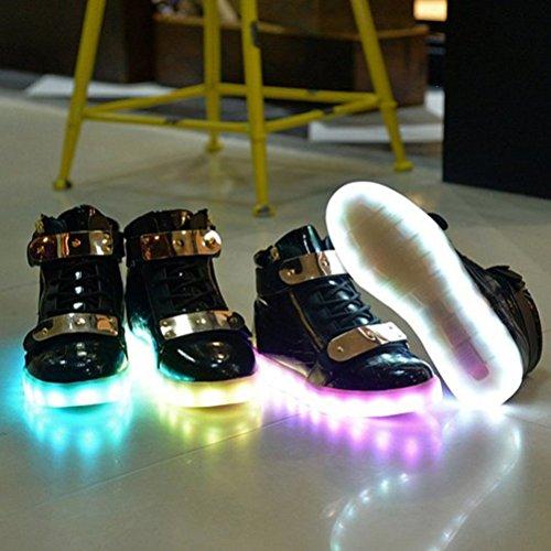 [Present:kleines Handtuch]JUNGLEST® Schwarz 7 Farbe Unisex LED-Beleuchtung Blink USB-Lade Turnschuh-Schuhe c44