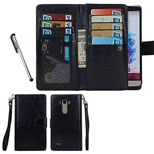 Preisvergleich Produktbild Für LG G3, urvoix (TM) Wallet Leder Schutzhülle Tür Kreditkarten, 2in 1Abnehmbare Magnetische Back Cover für LG G3