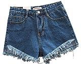 SaiDeng Mujer Verano Pantalones Cortos Vintage Denim Calientes Cintura Alta Shorts