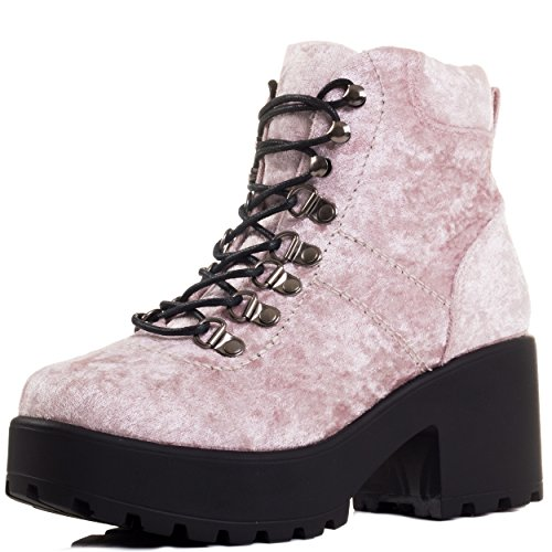Lace up Block Heel Ankle Boots Shoes Pink Velvet Style Sz 6