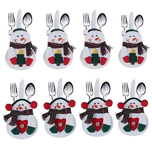 Troflink - Tuta da Cucina Posate da Taschino Portamonete Tasche coltelli forchette Borsa a Forma di snon Decorazione Natalizia per Feste Decor 8pcs / Set Presente