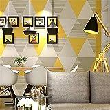 GERPAOL Sticker Mural Murale ModerneModerne Mode Gris Jaune Bleu Chambre Lavable Papier Peint Rouleau Décor À La Maison Géométrique Papier Peint Papel De Parede